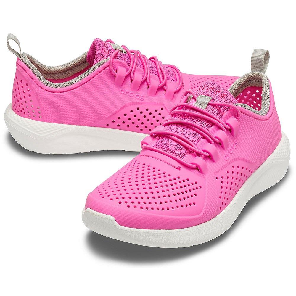 White Croslite Normal Kind Crocs Sneaker Low Literide Pacer Kids Electric Pink